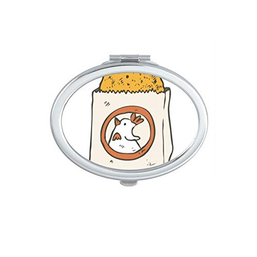 DIYthinker Snake Voedsel Gebakken Kip Taiwan Ovaal Compact Make-up Pocket Spiegel Draagbare Leuke Kleine Hand Spiegels Gift