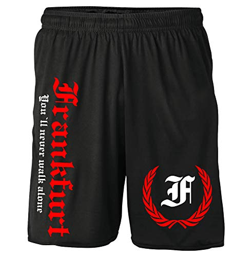 Frankfurt Kranz Shorts | Fussball Sport Ultras Kurze Hose Sporthose (XXL, Schwarz Kranz M2)