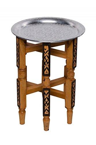 Marokkanischer Orientalischer Orient Beistelltisch Teetisch Tisch Amana - Silberfarbig, 40cm