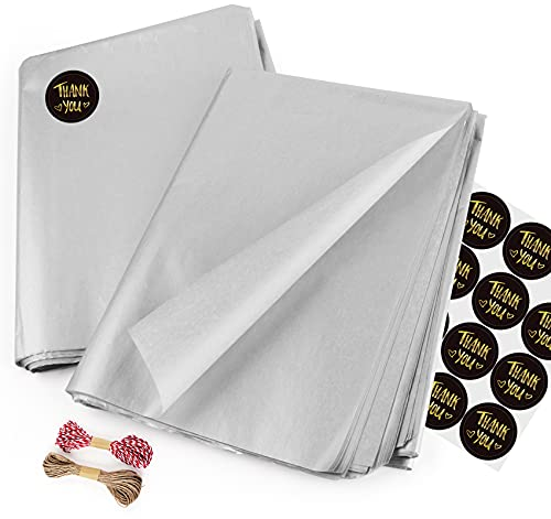 Sweelov Seidenpapier 50 Blatt 50 x 70cm Silber bastelpapier Papier Transparentpapier zum Pompoms Verpacken Tischdeko DIY,Kartengestaltung, Dekorieren