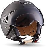 MOTO H44 - Leather black - Casco Cuero Moto Demi-Jet con Visera Vespa Scooter Piloto Jet negro - XS (53-54cm)