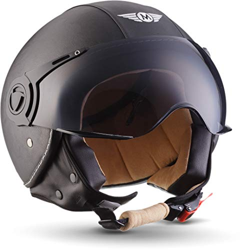 Moto Helmets H44 Leather black - JET VESPA Roller Motorrad-Helm Bobber Chopper...