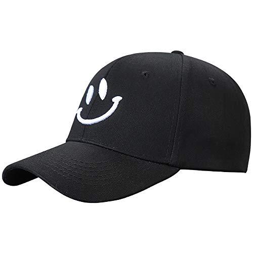 Loe Baseballmütze Frauen Hüte Für Männer Trucker Hysteresenkappen Smiley Stickerei Sonnenschirm Hut Mode Sonnenschutz Visier Frauen Wilde Baseballmütze (Color : Black)