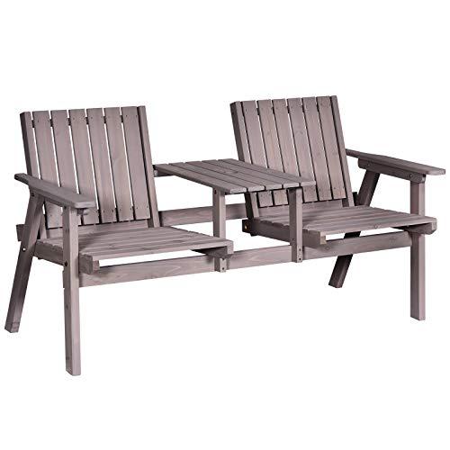 Outsunny Gartenbank mit Tisch, Sitzgruppe, Gartenmöbel, mit Regenschirmloch, Sitzbank, 2 Stühle, Massivholz, Kaffee, 152 x 70 x 79 cm