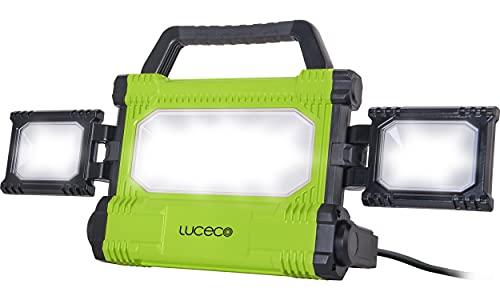Luceco LED Baustrahler 50 Watt, Ultraflach Arbeitsleuchte 5000 Lumen, Scheinwerfer IP54 Wasserfeste für Werkstatt Baustelle