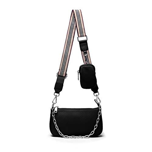 Yaluxe Multipurpose Crossbody Bag for Women Leather Small Purse 2 in 1 Zip Handbags with Coin Pouch