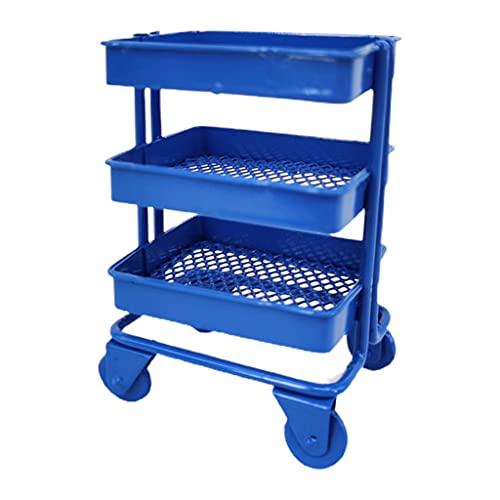 Mini muebles para muñecas Casa de muñecas Hierro que ahorra espacio Carrito de 3 niveles Estante de almacenamiento Casa de muñecas de bricolaje Muebles de cocina con ruedas Accesorios Herramientas de
