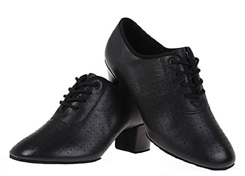 BeiBestCoat Women Lace-up Leather Dancing Shoes Chunky Heel Dancing Shoes (8.5 US/41) Black