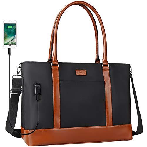 Woman Laptop Tote Bag,USB Teacher Bag Large Work Bag Purse Fits 17 in Laptop