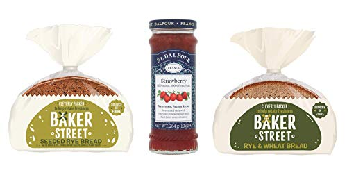 Baker Street Pan de trigo de centeno 1 unidad de semillas de centeno 1 unidad (500 g cada uno) y fresa St. Dalfour paquete de 1 (284 g)