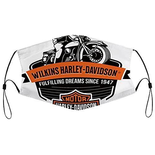 Best-design Harley Davidson Máscara facial de carbón activado para caza de granjeros, motocicleta lavable, respiradora ajustable