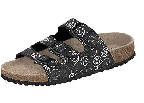 Supersoft Damen Hausschuhe Pantoffeln 274-138 in 2 Farben (40 EU, Black Multi)