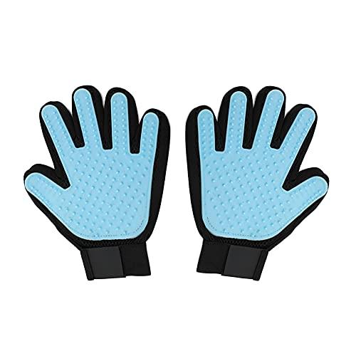 Houdao 1 Paar Katzenhandschuh Bürste Handschuh Katzenhaare Verstellbarkeit mit Fünf-Finger-Design und Atmungsaktives Netz Handschuh für Fellpflege Hund/Katze Hasen Pet Kurzhaar langhaar Massage