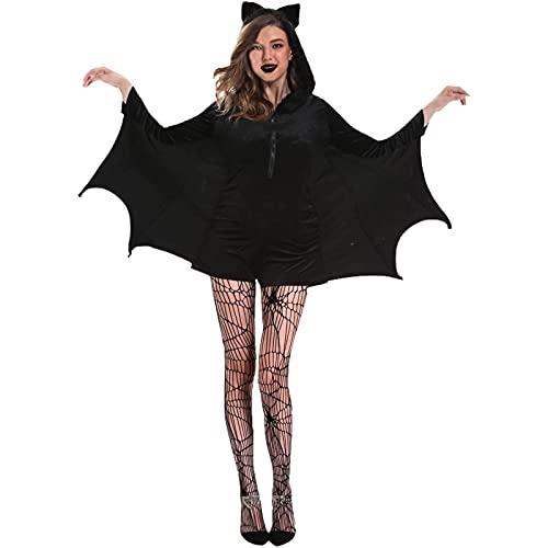 GDYJP Moda para Mujer Talla Grande Ropa Halloween Cosplay Bat Traje (Color : Black, Tamaño : 3XL)