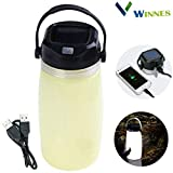 Winnes Solar Campinglampe, Multifunktions Solar Power Water Cup Licht LED USB wiederaufladbare...