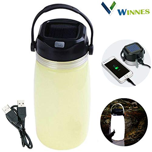 Winnes Solar Campinglampe, Multifunktions Solar Power Water Cup Licht LED USB wiederaufladbare Camping Licht wasserdicht Wasserkocher Licht für Wandern, Camping, Beleuchtung (gelb)