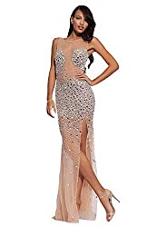 See-Through Rhinestone Evening Dress In Nude/Silver