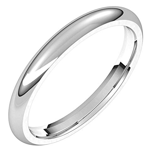 14ct White Gold 2.5mm Comfort Fit Bridal Wedding Band Ring, Size I