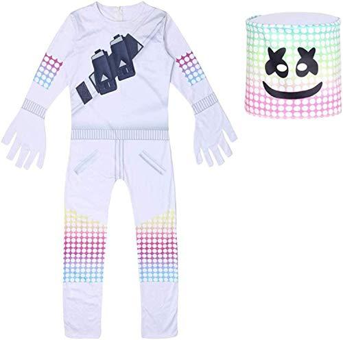 Disfraz de Malvavisco de DJ para Nios de la Noche de la Fortaleza de la Noche de Halloween Cosplay de la Ropa de Marshmallow Mscara Navidad Fiesta (11-12 aos de edad)
