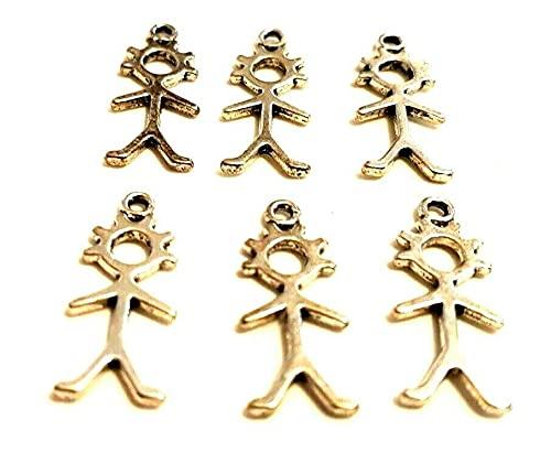 6 abalorios tibetanos de plata para hombre y mujer y niña, con símbolo egipcio, para proteger pulseras, collares y joyas