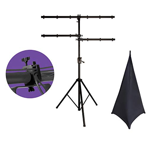 On Stage LS7805QIK Power Crank-Up Lighting Stand + On-Stage LTA4770 Lighting Clamp with Cable Management System for Lighting/Speaker Stands (Pair) + On-Stage SSA100B Speaker/Lighting Stand Skirt