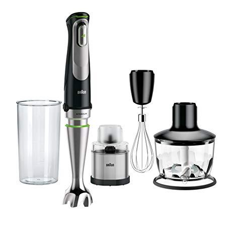 Braun MultiQuick 9 MQ 9038X Stabmixer, 1.000 W, Edelstahl Kaffee- und Gewürzmühle,(500 ml), EasyClick System Plus, Schwarz/Edelstahl