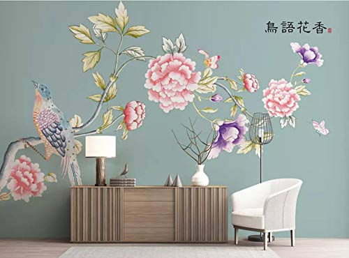 MKmd-s Theme Room Hotel KTV Hotel Restaurant 3D Mural, Hand Painted brushwork Peony Flowers and Birds Wallpaper