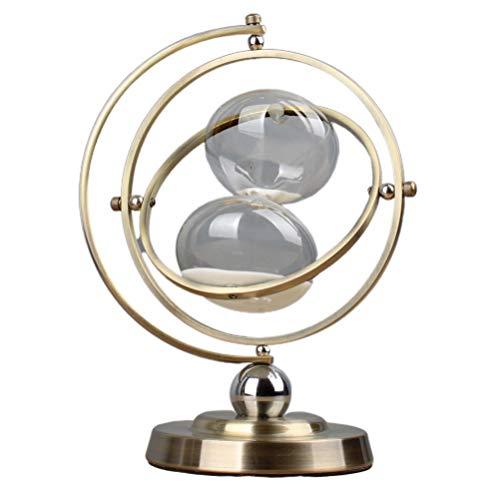 Vosarea Sanduhr Einzigartige Kreative Vintage Kupfer Basis Rotierenden Globus 15 Minuten Sanduhr Desktop Ornament für Home-Office-Dekor