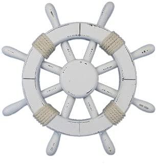 Hampton Nautical Rustic White Ship Wheel, 12