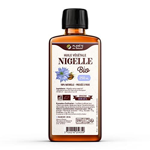 Huile de NIGELLE Bio - 250ml - AB - Planète au Naturel - Pure, Naturelle et Pressée à froid - Alimentaire - Cheveux,...