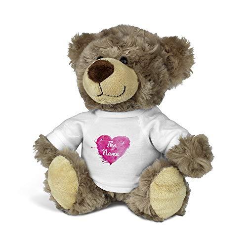 printplanet - Kuscheltier Teddybär mit Namen oder Text personalisiert - Motiv: Painted Heart - Stofftier, Plüschtier, Kinderzimmer