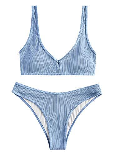ZAFUL Damen Gepolsterte Bikini Set, Texturiert V-Ausschnitt High Cut Bikini Badeanzug Sommer (Hellblau,M)