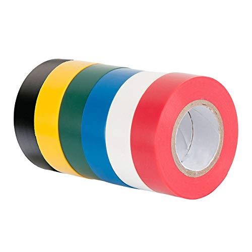 6 Stück Elektrisches Isolierband Kabelklebeband, 16 mm x 15 m, 90 m insgesamt, gemischte Farbe