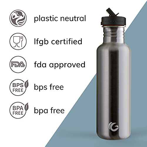 One Green Bottle – Tough Canteen Water Bottle with Classic Sports Cap, Stainless Steel Water Bottle, Non-Insulated, Single-Skinned Eco Bottle, 800ml (Silver)