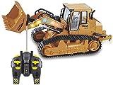 1:18 Escala 10 CH RC Tractor Funcional Funcional Frontal Control Remoto Bulldozer Truck Juguete Funcional Funcional RC Excavadora Retroexcavadora Taderer 37 * 15 * 16 cm Amazing