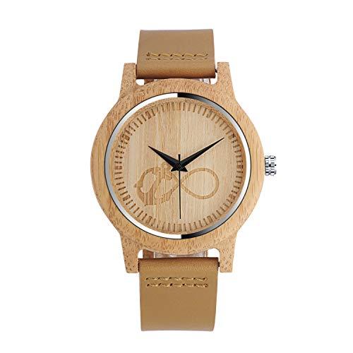 Unendlich U Herren Damen Unisex Bambus Unendlichkeit Zeichen Anker Holzuhr Analog Quarzwerk Armbanduhr mit Lederband Für Frauen Männer Geschenke