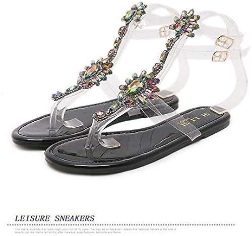 DESY zapatos mujer Sandalias mujer Rhinestones Cadenas Sandalias Planas Tanga Chanclas de Cristal Sandalias Gladiador Sandalias 43, negro,US6EU37235