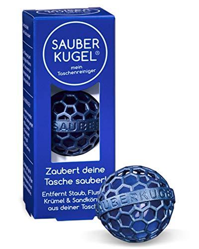 SAUBERKUGEL® für die Tasche | Blau | Wiederverwendbarer Taschenreiniger für Handtasche, Schulranzen & Rucksäcke | Nimmt Schmutz, Krümel & Flusen auf | Silikon- und PVC frei | Made in Germany (3,5 cm)