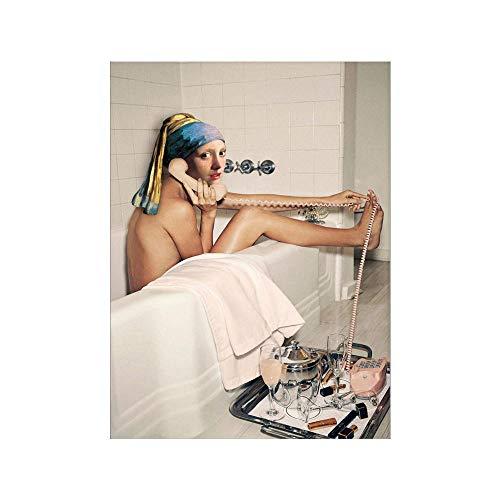 WKAQM Sala de Sin Marco Chica A Perla Pendiente Cartel Impresiones Cuarto de baño Pared Decoración Pared Arte Creativa Pintura Vivir Cuadros Pared Arte Sin Marco