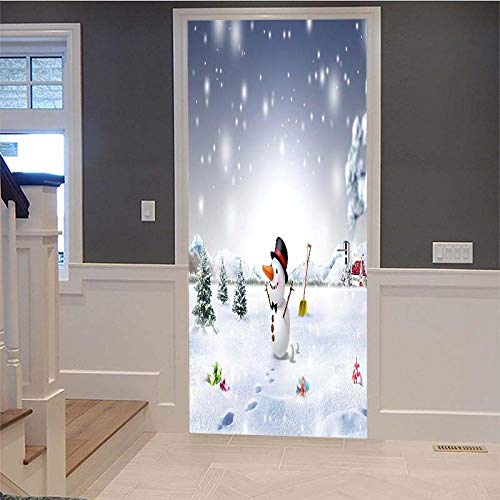 Etiqueta De La Puerta 3D Muñeco De Nieve De Navidad Apliques Decorativos...
