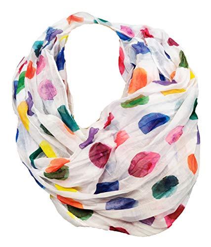 JameStyle26 Farbverlauf Dots Seide Sommer Loop Verlauf Regenbogen Rainbow Silk Uni Rundschal Schlauchschal Stola Schal leicht (Weiß)