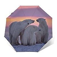ワンタッチ 自動開閉折りたたみ傘 折り畳み傘動物 ホッキョクグマ 転写プリント カジュアル メンズレディース傘uvカット 紫外線遮蔽 折り畳み傘