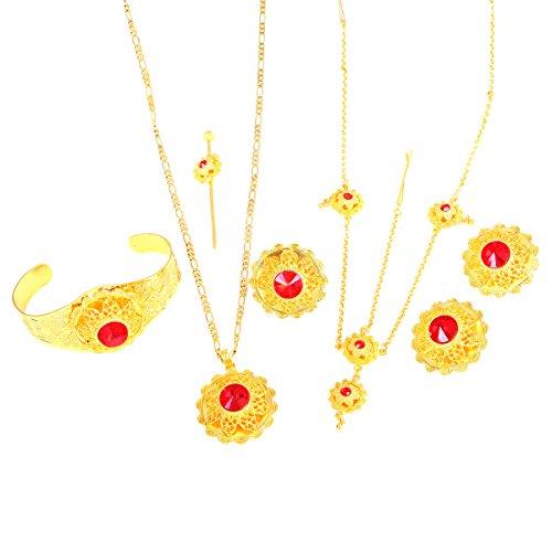 Äthiopische Set Jewelry Halskette Ohrring Ring Armreif Haarteil afrikanischen Brautschmuck Eritrea habesha