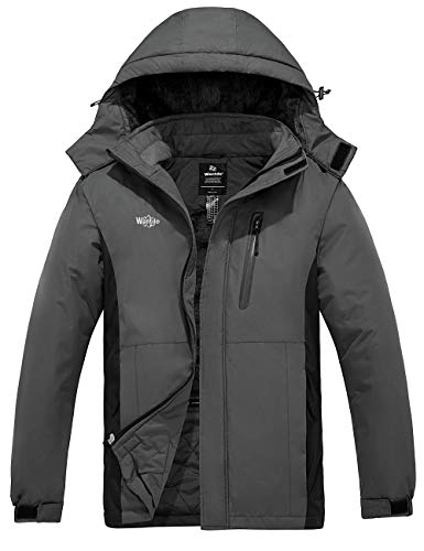 Wantdo Men's Snowboarding Jacket Waterproof Ski Jackets Hooded Winter Coats Dark Grey M