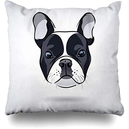 Throw Pillow Cases Puppy Gray Frenchie French Bulldog Head White Wildlife Face Pug Dog Drawing Bulldoganimals Mammal Pillow Cover Square Size 18' x 18' Inch Home Decor Sofa Cushion Case
