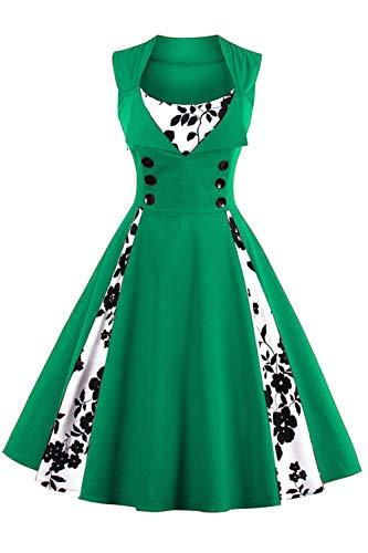 Axoe Damen Vintage Kleid 50er Jahre Rockabilly A-Linie Festkleid Grün Ärmellos Grosse Größe XXXL/48