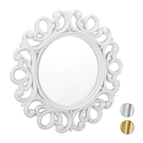 Relaxdays Specchio Decorativo Rotondo, da Parete, con Cornice, Ingresso, Bagno, Camera, Salotto, Ø 50 cm, Bianco