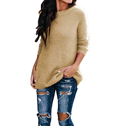 Autumn Winter Casual Long Sleeve Solid O Neck Sweater Casual Loose Female Sweaters Tops Fashion Women Clothing Beige XL