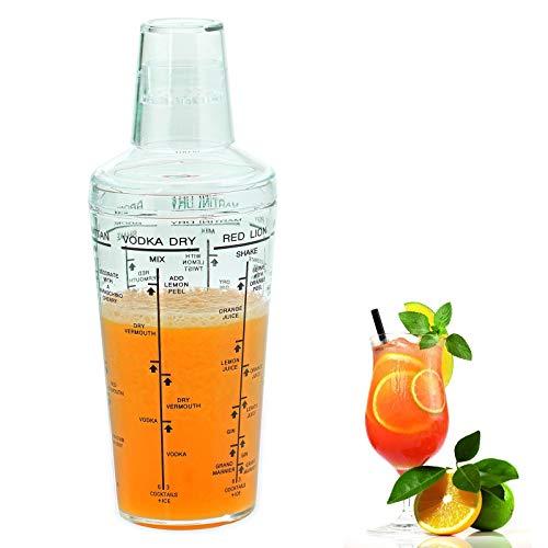 Westmark Cocktailshaker mit aufgedruckten Coktail-Rezepten, Füllvolumen: 0,5 Liter, Kunststoff, Casablanca, Transparent, 62892260