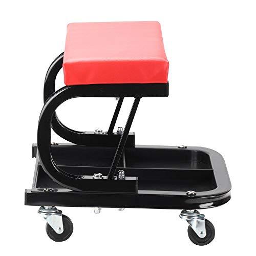 DHOUTDOORS Chariots de Visite et Tabourets à roulettes-Chaise de Mécanicien Rouge avec Roulements à Rouleaux-Tabouret sur roulettes